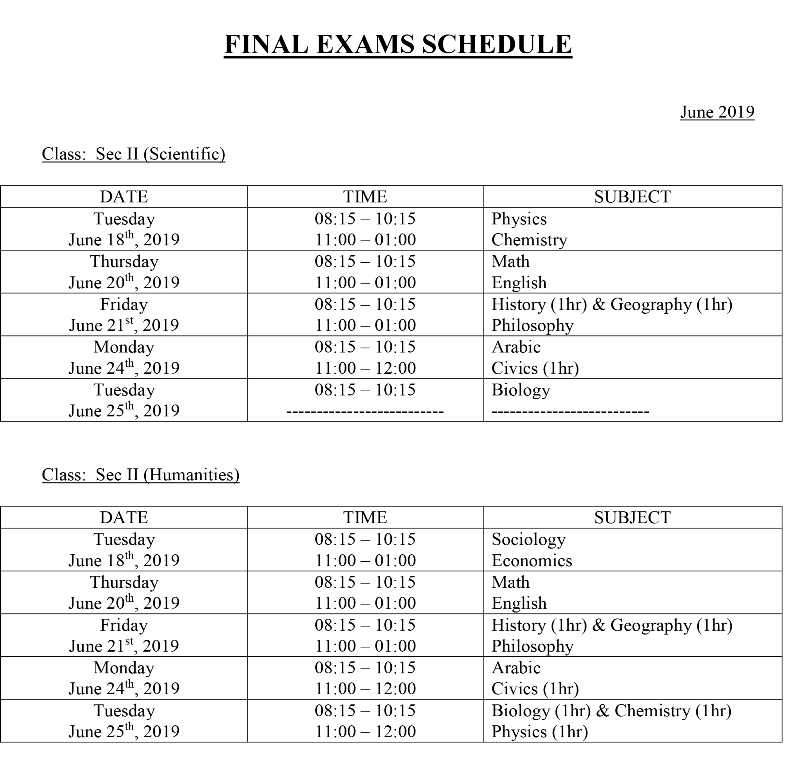 Middle & Senior Schools Final Exams Schedule 2018-2019