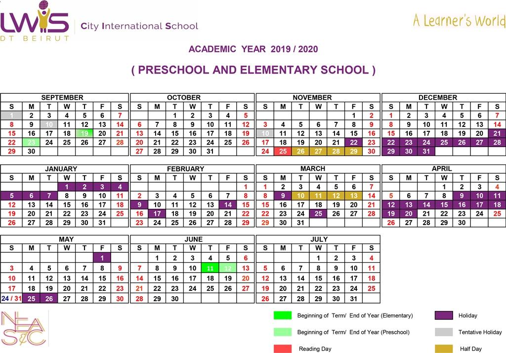 Calendrier National 2020 2019.Academic Calendar Lwis Cis Dt Beirut American